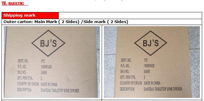 quality inspection report shipping mark